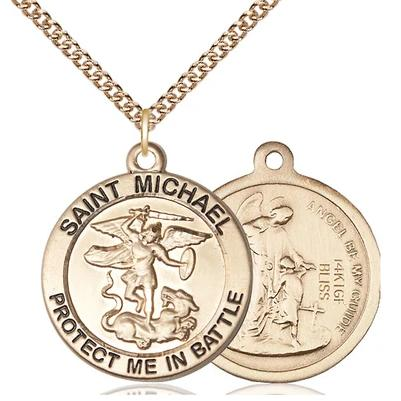"St. Michael Army Medal Necklace - 14K Gold Filled - 1 Inch Tall x 7/8 Inch Wide with 24"" Chain"