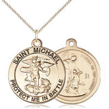 "St. Michael Army Medal Necklace - 14K Gold - 1 Inch Tall x 7/8 Inch Wide with 18"" Chain"