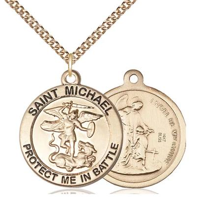 "St. Michael Army Medal Necklace - 14K Gold - 1 Inch Tall x 7/8 Inch Wide with 24"" Chain"