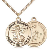 "St. Michael Navy Medal Necklace - 14K Gold - 1 Inch Tall x 7/8 Inch Wide with 24"" Chain"