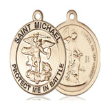 St. Michael Army Medal - 14K Gold - 1 Inch Tall x 7/8 Inch Wide