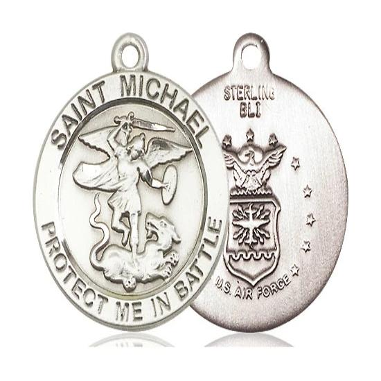 St. Michael Army Medal - Sterling Silver - 1 Inch Tall x 7/8 Inch Wide