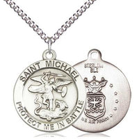 "St. Michael Army Medal Necklace - Sterling Silver - 1 Inch Tall x 7/8 Inch Wide with 24"" Chain"