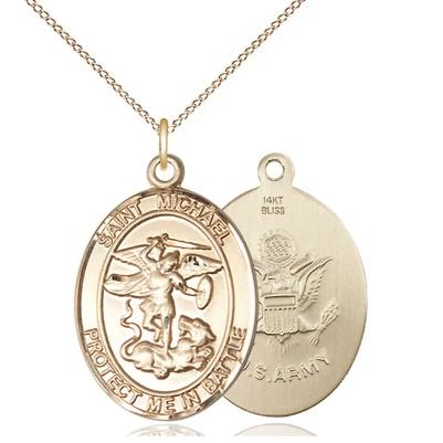 "St. Michael Army Medal Necklace - 14K Gold - 1 Inch Tall x 5/8 Inch Wide with 18"" Chain"