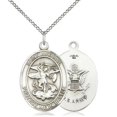 "St. Michael Army Medal Necklace - Sterling Silver - 1 Inch Tall x 5/8 Inch Wide with 18"" Chain"