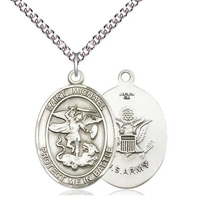 "St. Michael Army Medal Necklace - Sterling Silver - 1 Inch Tall x 5/8 Inch Wide with 24"" Chain"