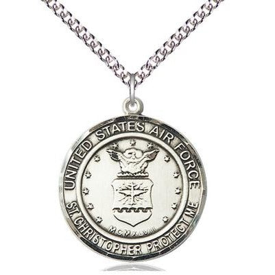 "Air Force St. Christopher Medal Necklace - Sterling Silver - 1 Inch Tall x 7/8 Inch Wide with 24"" Chain"