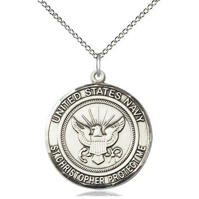 "Navy St. Christopher Medal Necklace - Sterling Silver - 1 Inch Tall x 7/8 Inch Wide with 18"" Chain"