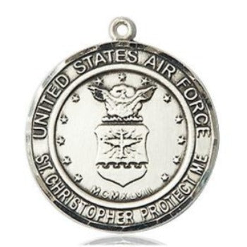 Air Force St. Christopher Medal - Sterling Silver - 3/4 Inch Tall x 3/4 Inch Wide