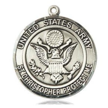 Army St. Christopher Medal - Sterling Silver - 3/4 Inch Tall x 3/4 Inch Wide