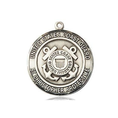 "Coast Guard St. Christopher Medal Necklace - Sterling Silver - 3/4 Inch Tall x 3/4 Inch Wide with 24"" Chain"