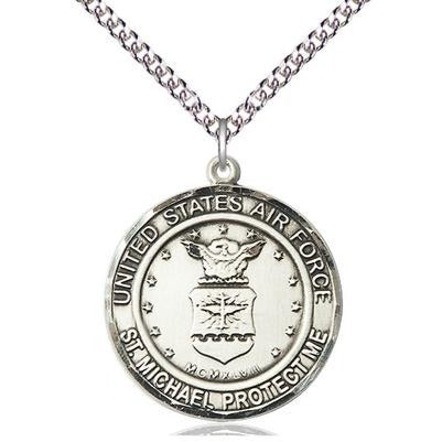 "Air Force St. Michael Medal Necklace - Sterling Silver - 1 Inch Tall x 7/8 Inch Wide with 24"" Chain"