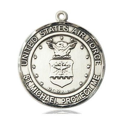 Air Force St. Michael Medal - Sterling Silver - 1 Inch Tall x 7/8 Inch Wide