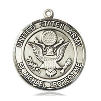 "Army St. Michael Medal Necklace - Sterling Silver - 1 Inch Tall x 7/8 Inch Wide with 18"" Chain"