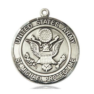 "Army St. Michael Medal Necklace - Sterling Silver - 1 Inch Tall x 7/8 Inch Wide with 24"" Chain"
