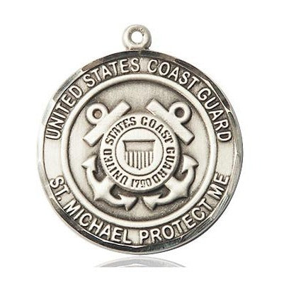 "Coast Guard St. Michael Medal Necklace - Sterling Silver - 1 Inch Tall x 7/8 Inch Wide with 18"" Chain"