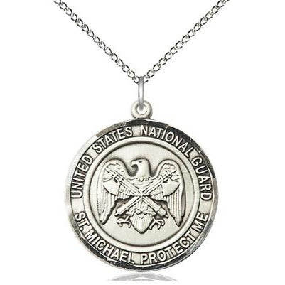 "National Guard St. Michael Medal Necklace - Sterling Silver - 1 Inch Tall x 7/8 Inch Wide with 18"" Chain"