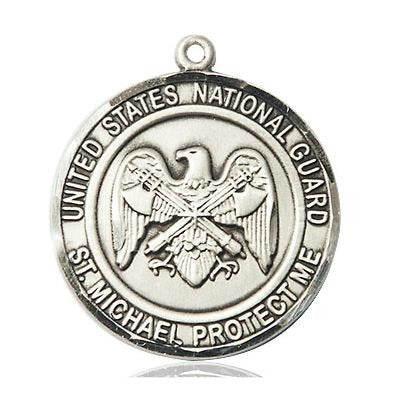 "National Guard St. Michael Medal Necklace - Sterling Silver - 1 Inch Tall x 7/8 Inch Wide with 24"" Chain"
