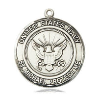 Navy St. Michael Medal - Sterling Silver - 1 Inch Tall x 7/8 Inch Wide
