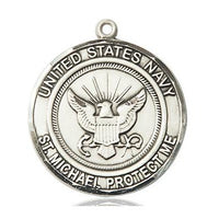 "Navy St. Michael Medal Necklace - Sterling Silver - 1 Inch Tall x 7/8 Inch Wide with 18"" Chain"