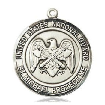 National Guard St. Michael Medal - Sterling Silver - 3/4 Inch Tall x 3/4 Inch Wide