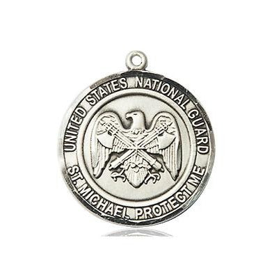 "National Guard St. Michael Medal Necklace - Sterling Silver - 3/4 Inch Tall x 3/4 Inch Wide with 24"" Chain"