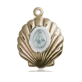 Miraculous Medal - 14K Gold - 3/4 Inch Tall by 5/8 Inch Wide