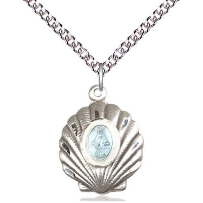 "Miraculous Medal Necklace - Sterling Silver - 3/4 Inch Tall by 5/8 Inch Wide with 24"" Chain"