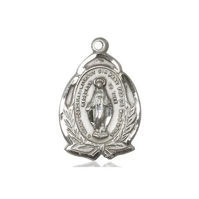 "Miraculous Medal Necklace - Sterling Silver - 3/4 Inch Tall by 1/2 Inch Wide with 18"" Chain"