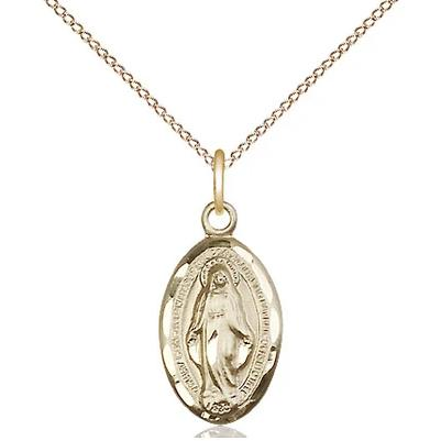 "Miraculous Medal Necklace - 14K Gold - 5/8 Inch Tall by 3/8 Inch Wide with 18"" Chain"