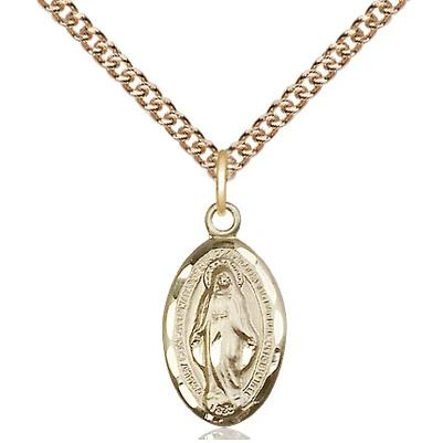 "Miraculous Medal Necklace - 14K Gold - 5/8 Inch Tall by 3/8 Inch Wide with 24"" Chain"