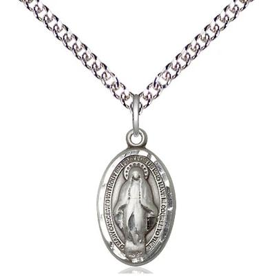 "Miraculous Medal Necklace - Sterling Silver - 5/8 Inch Tall by 3/8 Inch Wide with 24"" Chain"