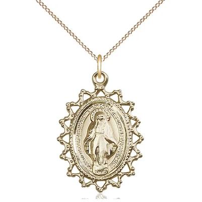 "Miraculous Medal Necklace - 14K Gold Filled - 1 Inch Tall by 3/4 Inch Wide with 18"" Chain"