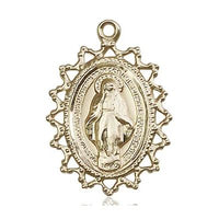 Miraculous Medal - 14K Gold Filled - 1 Inch Tall by 3/4 Inch Wide