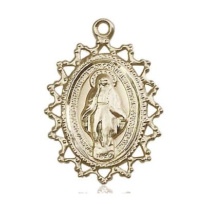Miraculous Medal - 14K Gold - 1 Inch Tall by 3/4 Inch Wide