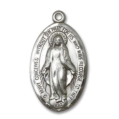 Miraculous Medal - Sterling Silver - 1-3/8 Inch Tall by 3/4 Inch Wide