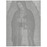 Our Lady Of Guadalupe Grey Minky Throw Blanket