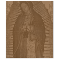 Our Lady Of Guadalupe Chocolate Brown Minky Throw Blanket