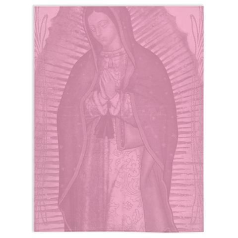 Our Lady Of Guadalupe Light Pink Soft Minky Throw Blanket