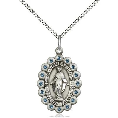 "Miraculous Medal Necklace - Sterling Silver - 7/8 Inch Tall by 1/2 Inch Wide with 18"" Chain"