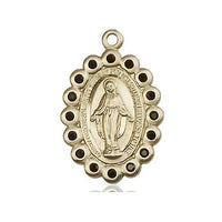 "Miraculous Medal Necklace - 14K Gold - 7/8 Inch Tall by 1/2 Inch Wide with 18"" Chain"
