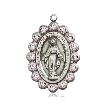 Miraculous Medal - Pewter - 7/8 Inch Tall by 1/2 Inch Wide