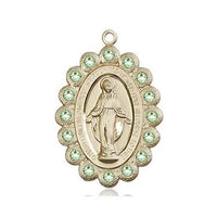 Miraculous Medal - 14K Gold - 7/8 Inch Tall by 1/2 Inch Wide