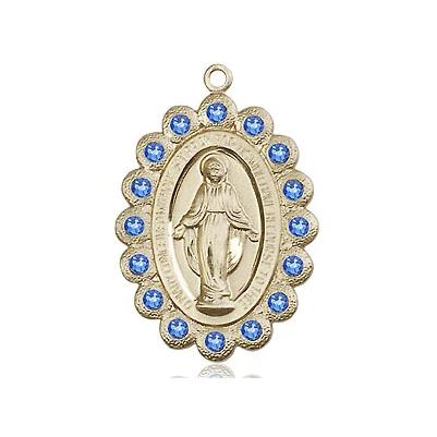 "Miraculous Medal Necklace - 14K Gold - 7/8 Inch Tall by 1/2 Inch Wide with 24"" Chain"