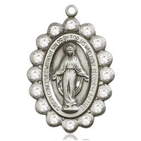 Miraculous Medal - Pewter - 1-1/8 Inch Tall by 3/4 Inch Wide