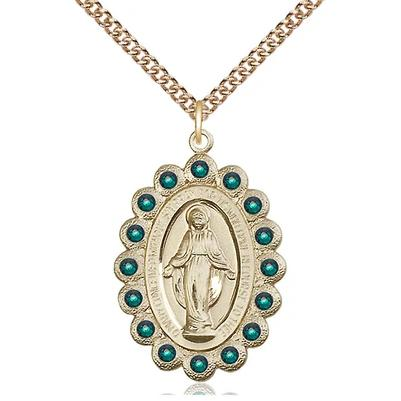 "Miraculous Medal Necklace - 14K Gold - 1-1/8 Inch Tall by 3/4 Inch Wide with 24"" Chain"