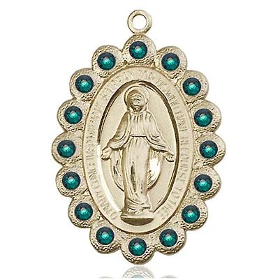 "Miraculous Medal Necklace - 14K Gold - 1-1/8 Inch Tall by 3/4 Inch Wide with 18"" Chain"