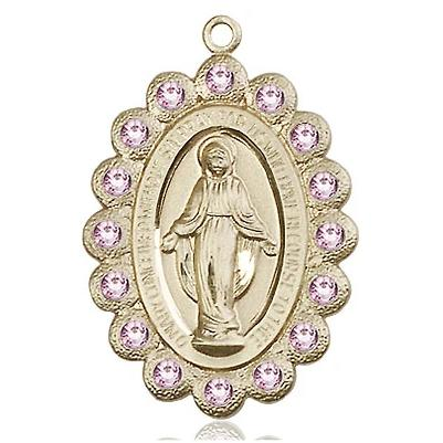 "Miraculous Medal Necklace - 14K Gold Filled - 1-1/8 Inch Tall by 3/4 Inch Wide with 24"" Chain"