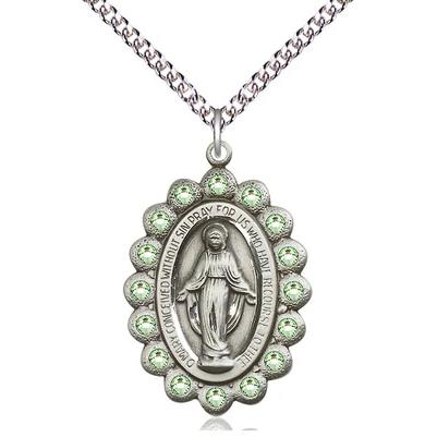 "Miraculous Medal Necklace - Sterling Silver - 1-1/8 Inch Tall by 3/4 Inch Wide with 24"" Chain"