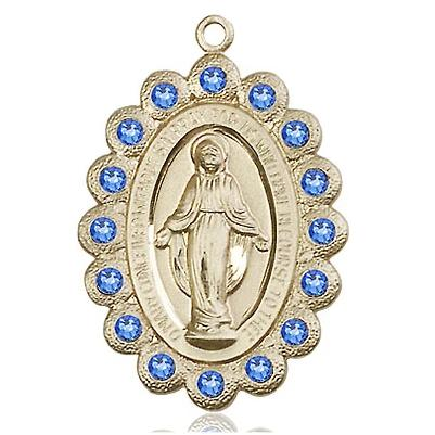 "Miraculous Medal Necklace - 14K Gold Filled - 1-1/8 Inch Tall by 3/4 Inch Wide with 18"" Chain"